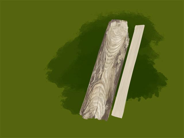木の板を真剣に描く