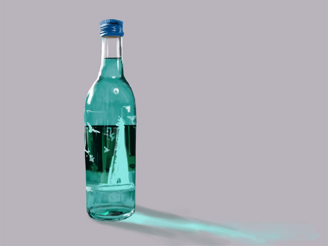液体の入った瓶を描く
