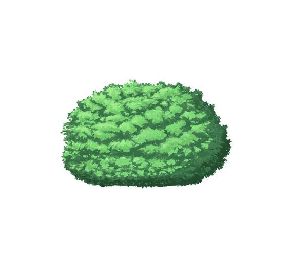 低木を描いて樹木と組み合わせてみた