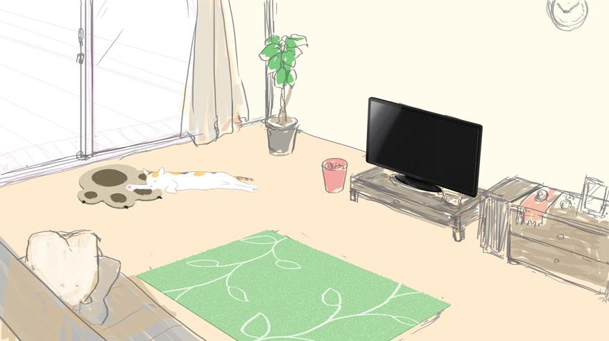 部屋にテレビを描き足してみた