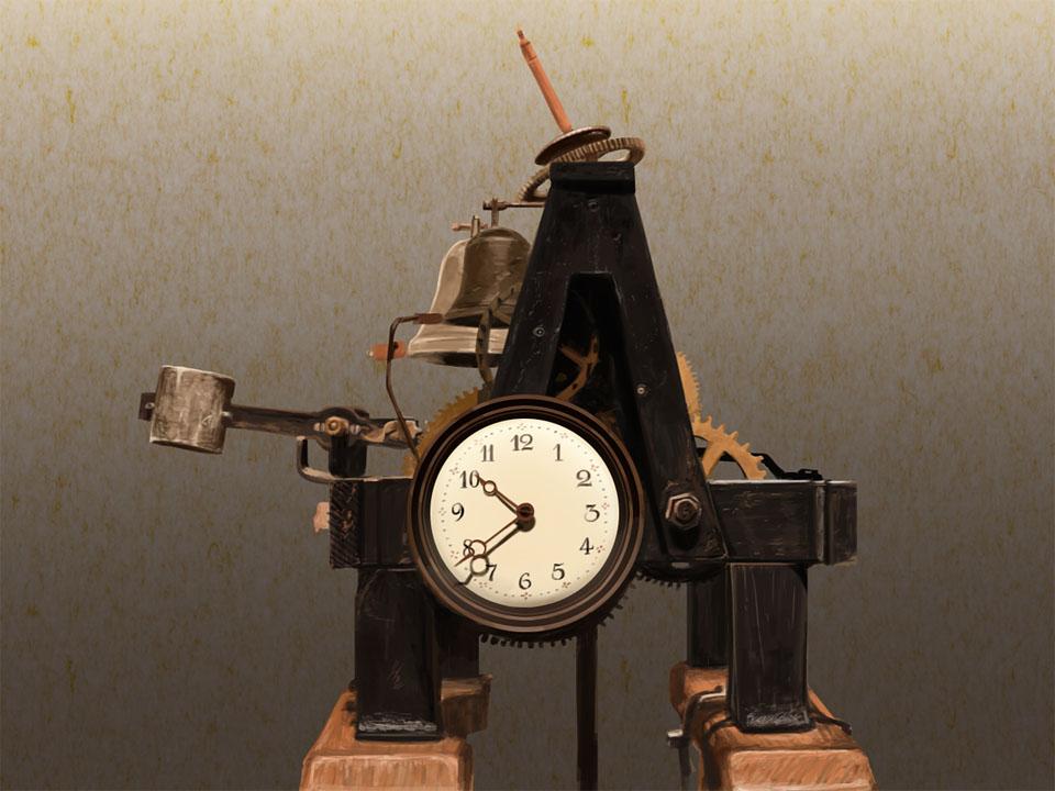 小型塔時計描いた