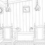 レストラン線画完成です