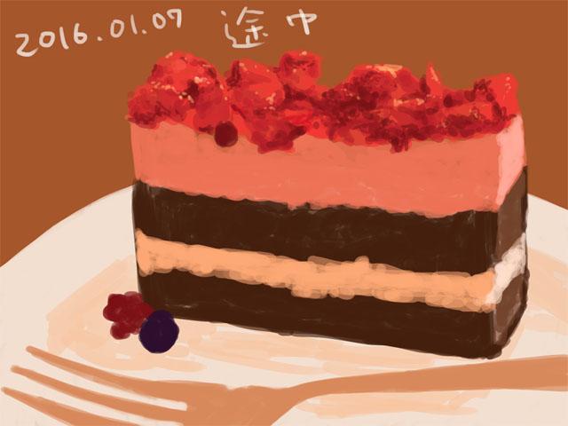 ベリーのムースケーキ下書き